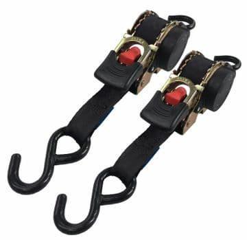 2 x 25mm x 3 metre AUTO RETRACTABLE RATCHET TIE DOWNS with S HOOKS truck bike